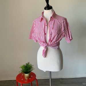 Vintage Red Striped Button Down Shirt